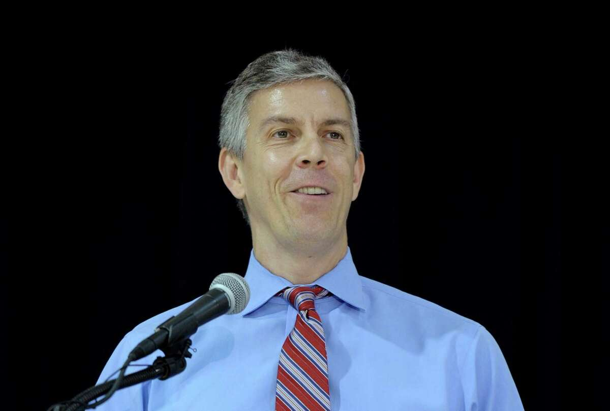 """This photo taken Nov. 7, 2013 shows Education Secretary Arne Duncan speaking Malcolm X Elementary School in Washington. Duncan continued to face criticism Monday over reported remarks that seemed to dismiss ?""""white suburban moms?"""" for opposing higher academic standards. Duncan has consistently shown little patience for critics of the Common Core State Standards, being implemented in 45 states and the District of Columbia. But his remarks, as reported by Politico, went a step further and add elements of race and class. (AP Photo/Susan Walsh) ORG XMIT: WX1-07"""