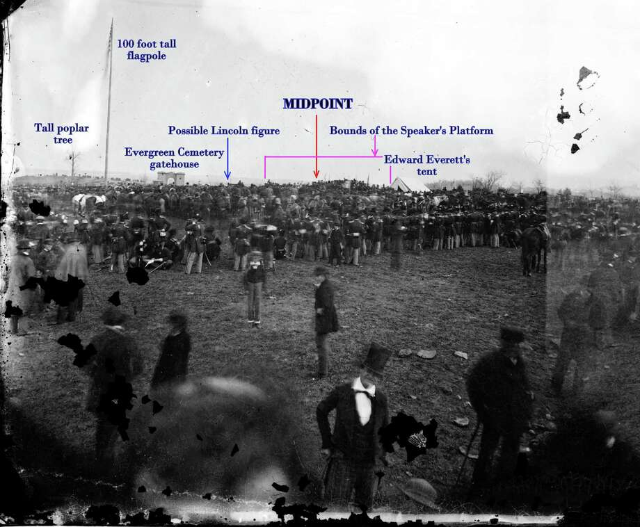 This is a longer view of Alexander Gardner's photograph of President Lincoln at Gettysburg. Photo: Contributed Photo / The News-Times Contributed