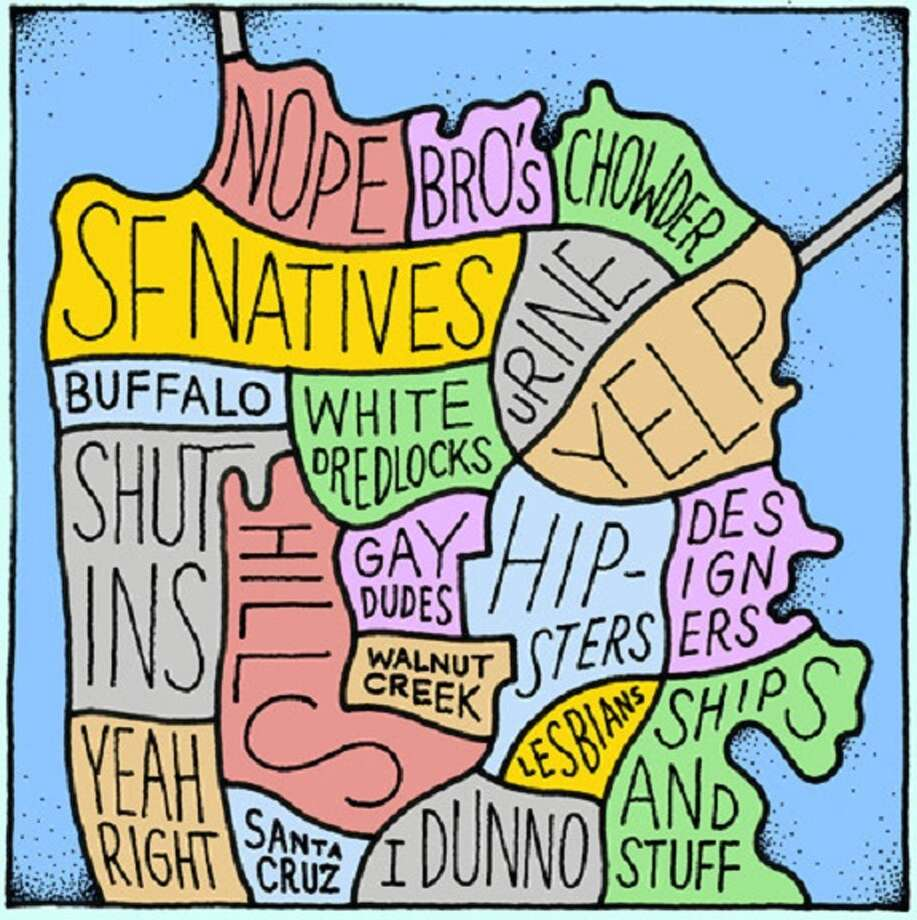 """Originally pictured on the Bold Italic, the """"bro-ster"""" map, part of Movoto's collection, tells you where to find what type of San Franciscan by neighborhood. Photo: Http://www.thebolditalic.com/articles/1705-the-life-of-a-bro-ster"""