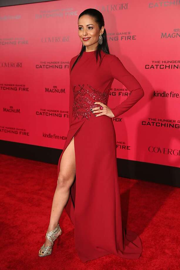 "Actress Meta Golding attends premiere of Lionsgate's ""The Hunger Games: Catching Fire"" - Red Carpet at Nokia Theatre L.A. Live on November 18, 2013 in Los Angeles, California. Photo: Christopher Polk, Getty Images"