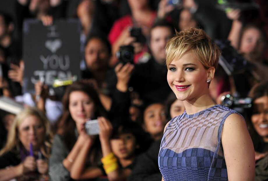 "Jennifer Lawrence arrives at the Los Angeles premiere of ""The Hunger Games: Catching Fire""  at Nokia Theatre LA Live on Monday, Nov. 18, 2013. Photo: Jordan Strauss, Associated Press"