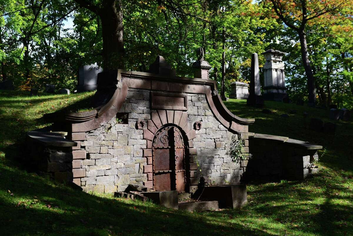 The hillside crypt of Capt. Volkert Petrus Douw. The creepy-looking crypt was featured in the film ?Ironweed.? (Will Waldron/Times Union)