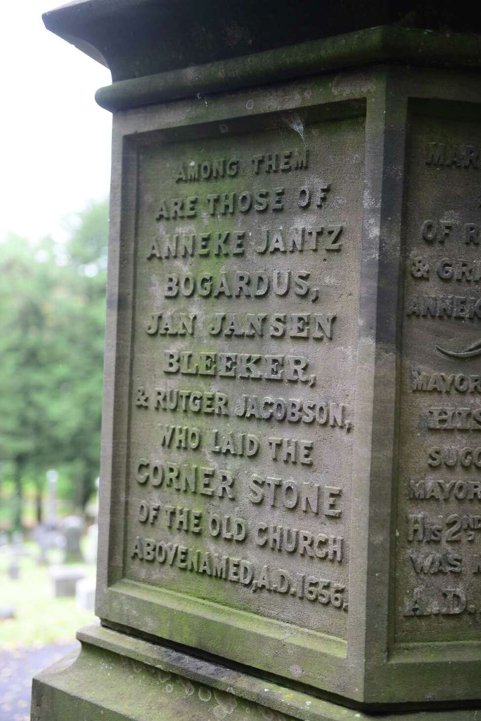 A detail of the Bleecker grave marker. (Will Waldron/Times Union)