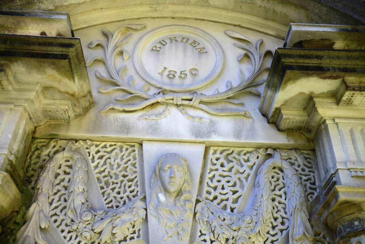 Entrance to the Burden mausoleum. (Will Waldron/Times Union)