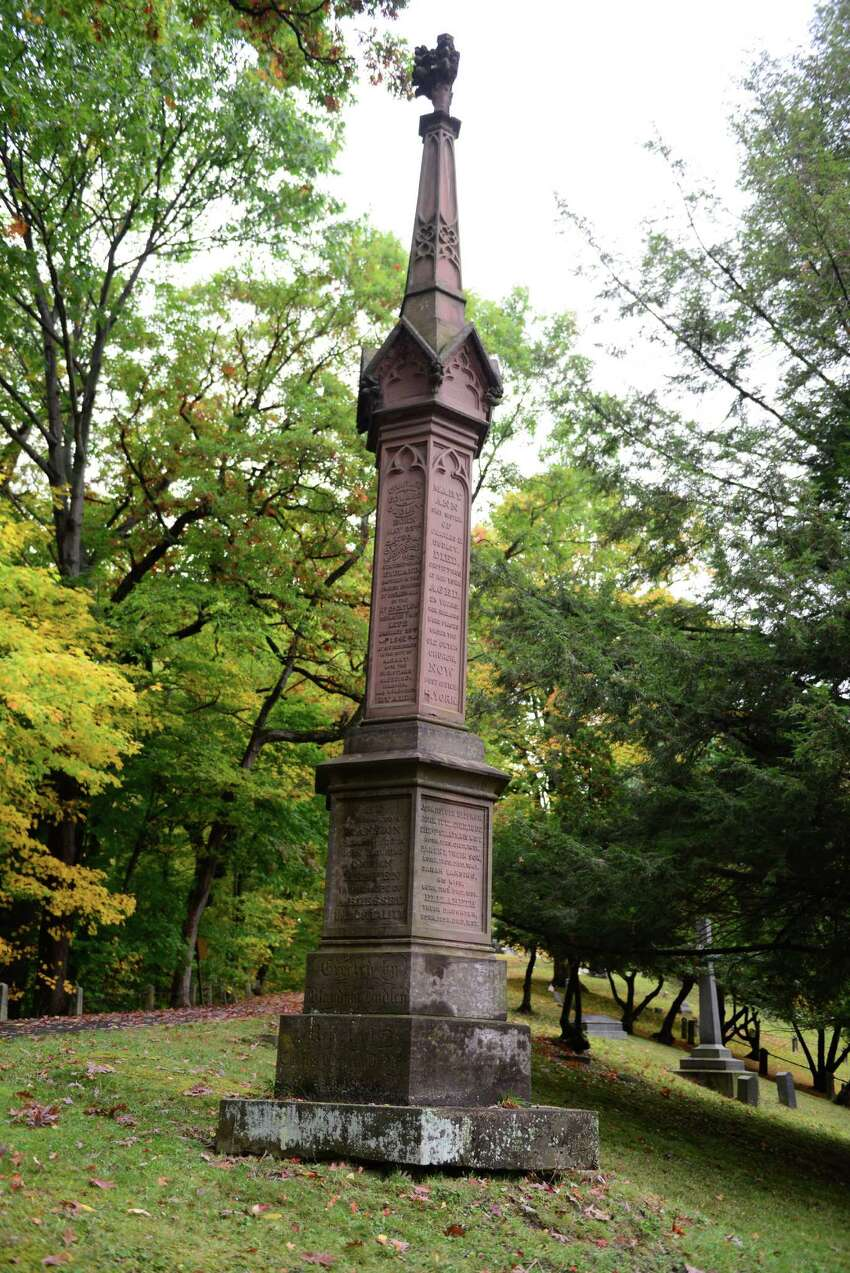 The Bleecker family grave holds Dudley Observatory benefactor Blandina Bleecker Dudley and Anneke Jantz Bogardus, who once owned 62 acres of Manhattan in the Bouwerie. (Will Waldron/Times Union)