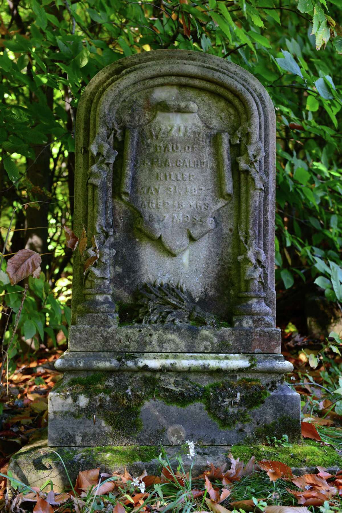 The grave of Lizzie Calhoun at Albany Rural Cemetery. Calhoun died in the cemetery during a runaway horse accident on June 1, 1877.