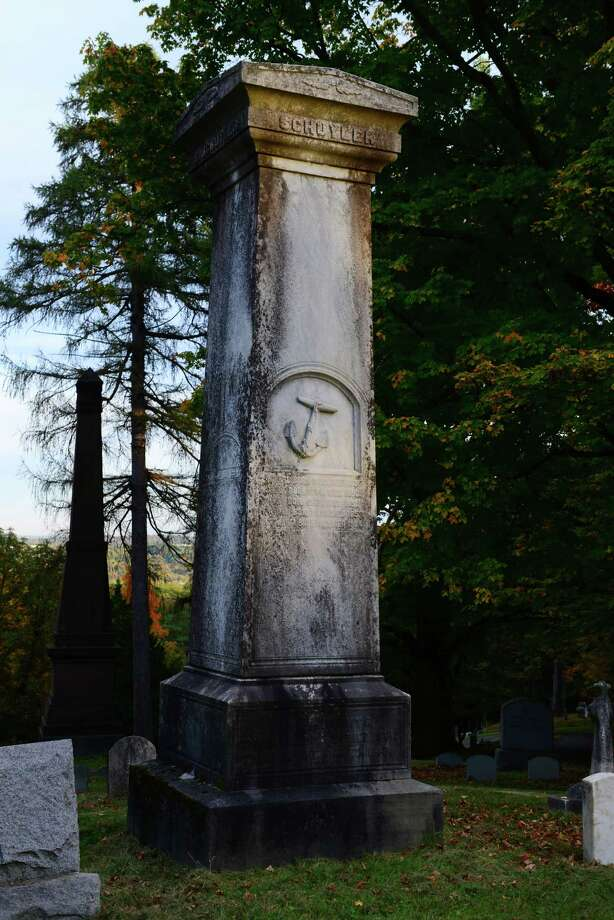 The grave of Samuel Schuyler, a prominent African-American businessman in Albany who died in 1842, is surrounded by more than a dozen stones of Schuyler descendants. (Will Waldron/Times Union) Photo: WW / 00023993A
