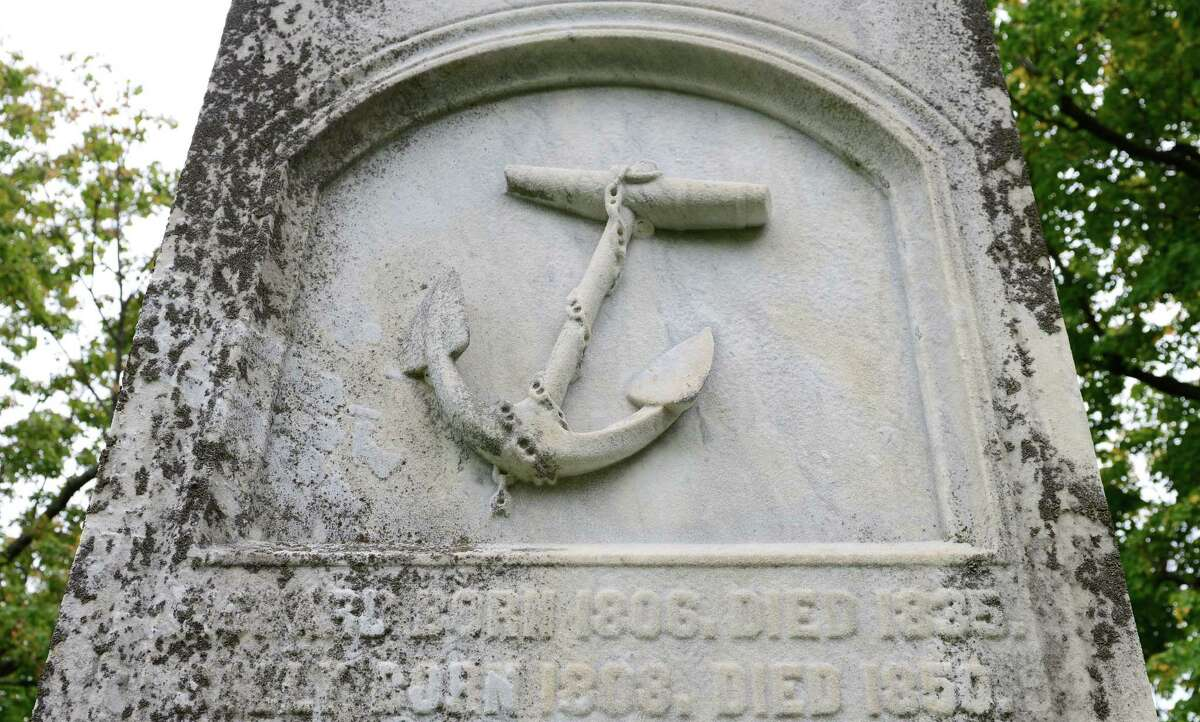 Detail of the grave of Capt. Samuel Schuyler, a prominent African American businessman in Albany who died in 1842.
