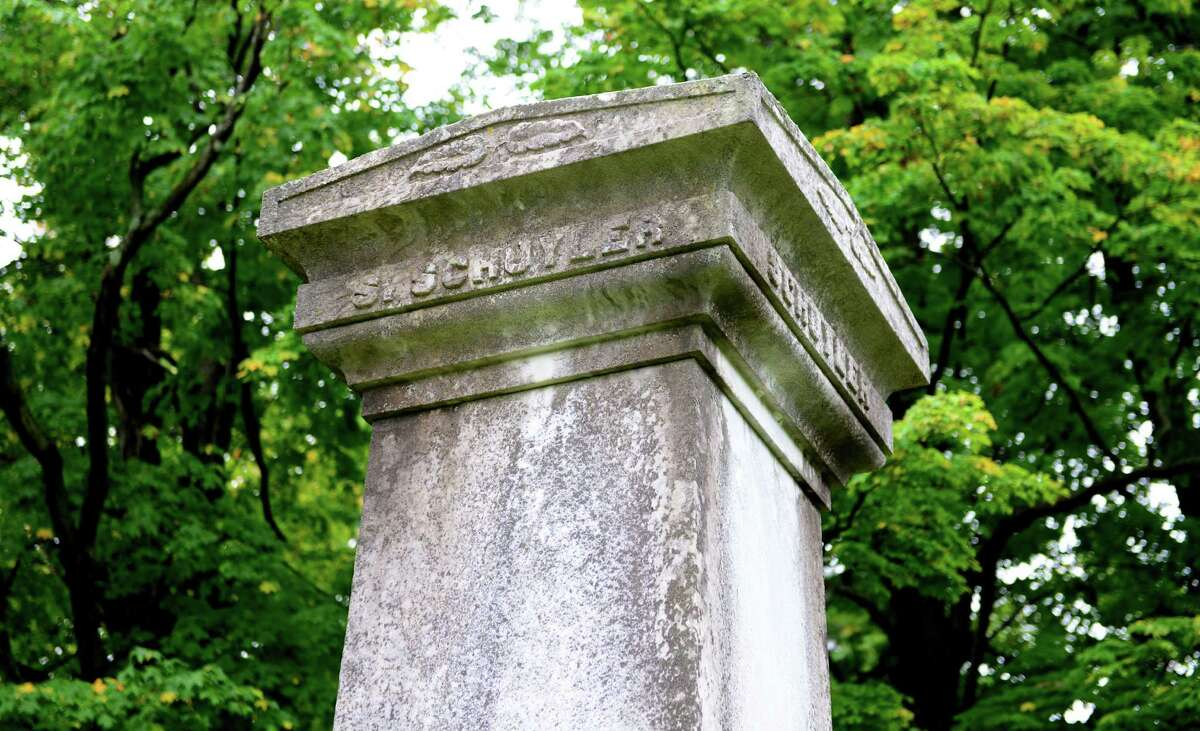 Detail of the grave of Samuel Schuyler, a prominent African-American businessman in Albany who died in 1842. (Will Waldron/Times Union)
