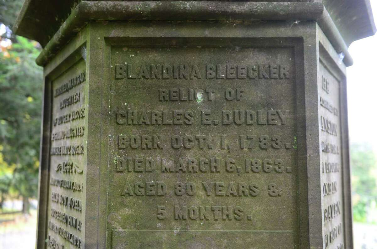 The Bleecker family grave site in Albany Rural Cemetery holds the remains if Dudley Observatory patroness Blandina Bleecker. Also interred there is Anneke Jantz Bogardus, who once owned 62 acres of downtown Manhattan in the Bouwerie. (Will Waldron/Times Union)