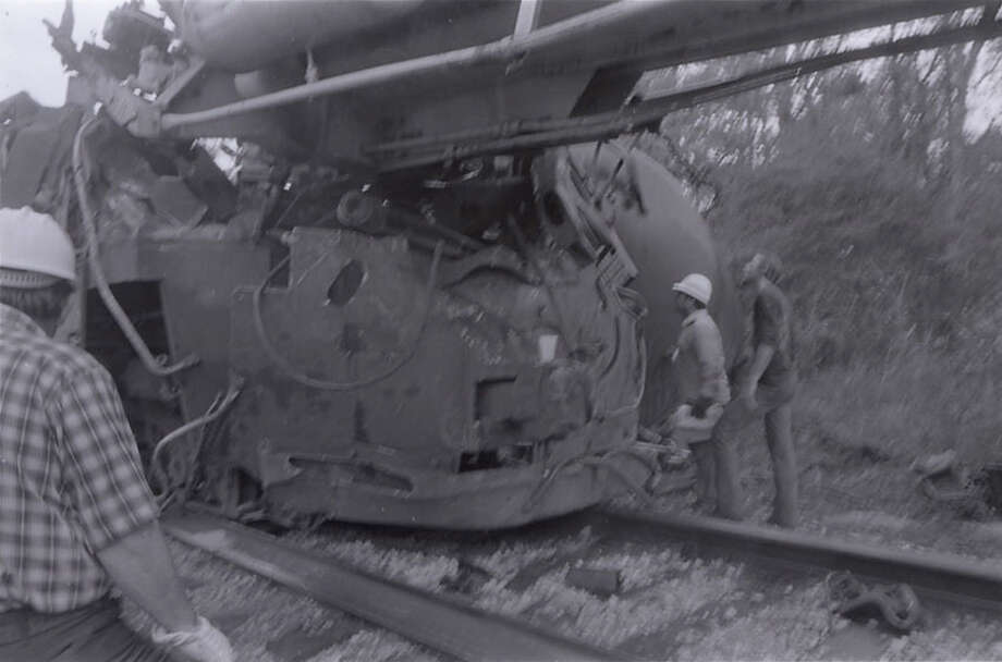 """The train known as 189/190 slammed into the cars, Auberry said, and four men died when the caboose, which was right behind the engine, and a tank car behind the caboose """"accordioned"""" into the engine. Photo: Houston Chronicle File Photo"""