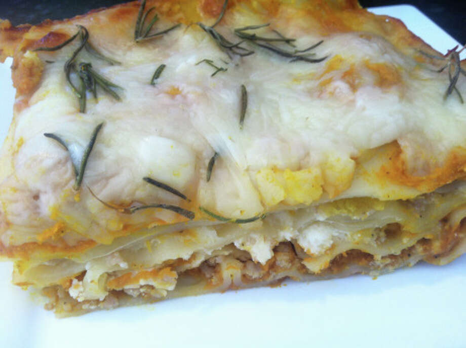 """""""Pumpkin Lasagna"""" is made with sweet apple chicken sausage and roasted acorn squash. Photo: Contributed Photo, Contributed / New Canaan News Contributed"""