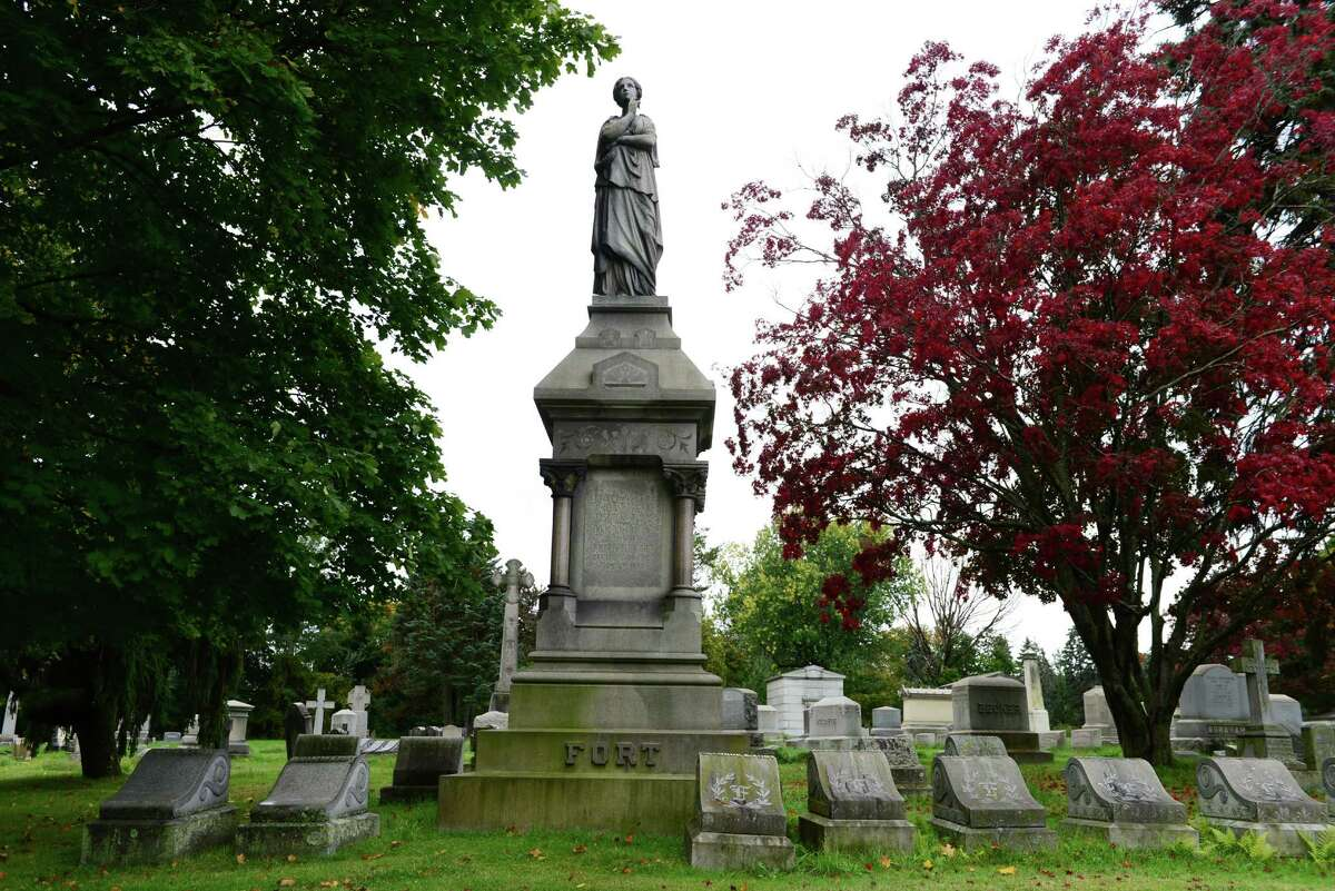 Above is the family grave of Charles Hoy Fort. Fort wrote and researched on anomalous phenomena. His works were widely read, and spawned the Fortean Society. The grave faces Cypress Fountain in section 28 of the cemetery. (Will Waldron/Times Union)