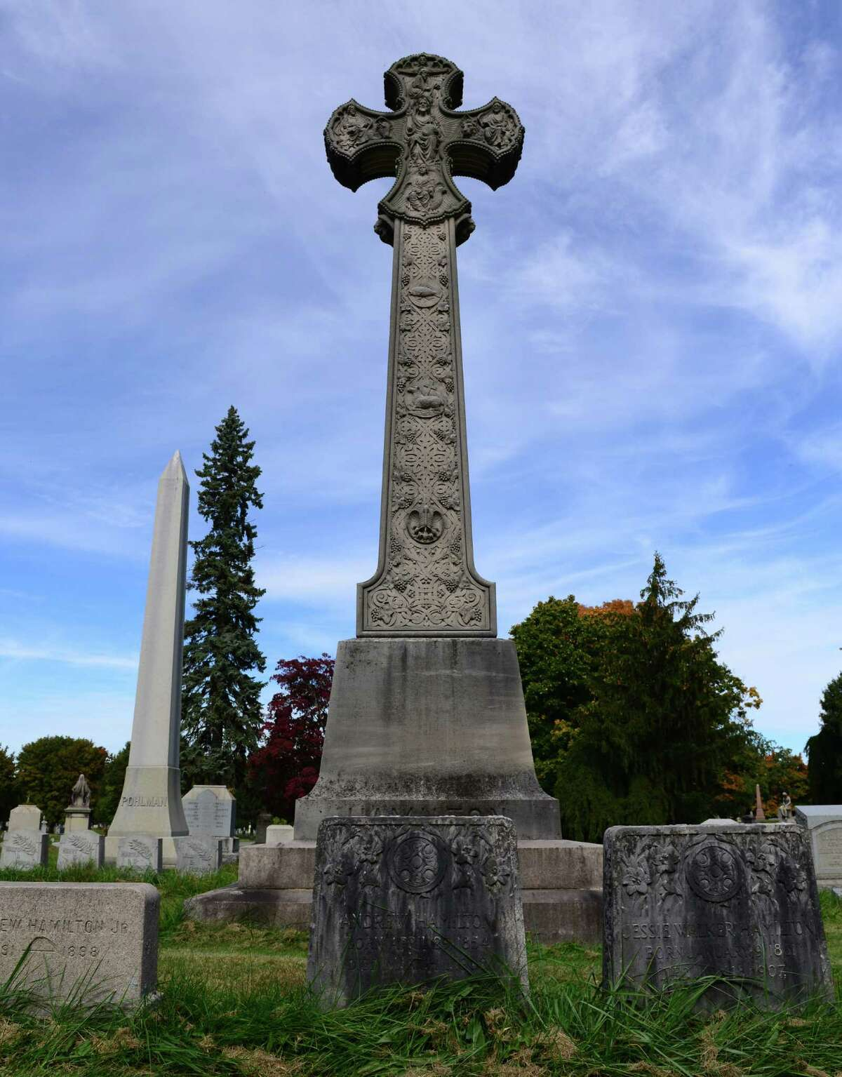 This immense and intricately carved stone monument is the centerpiece of the Hamilton family plot.