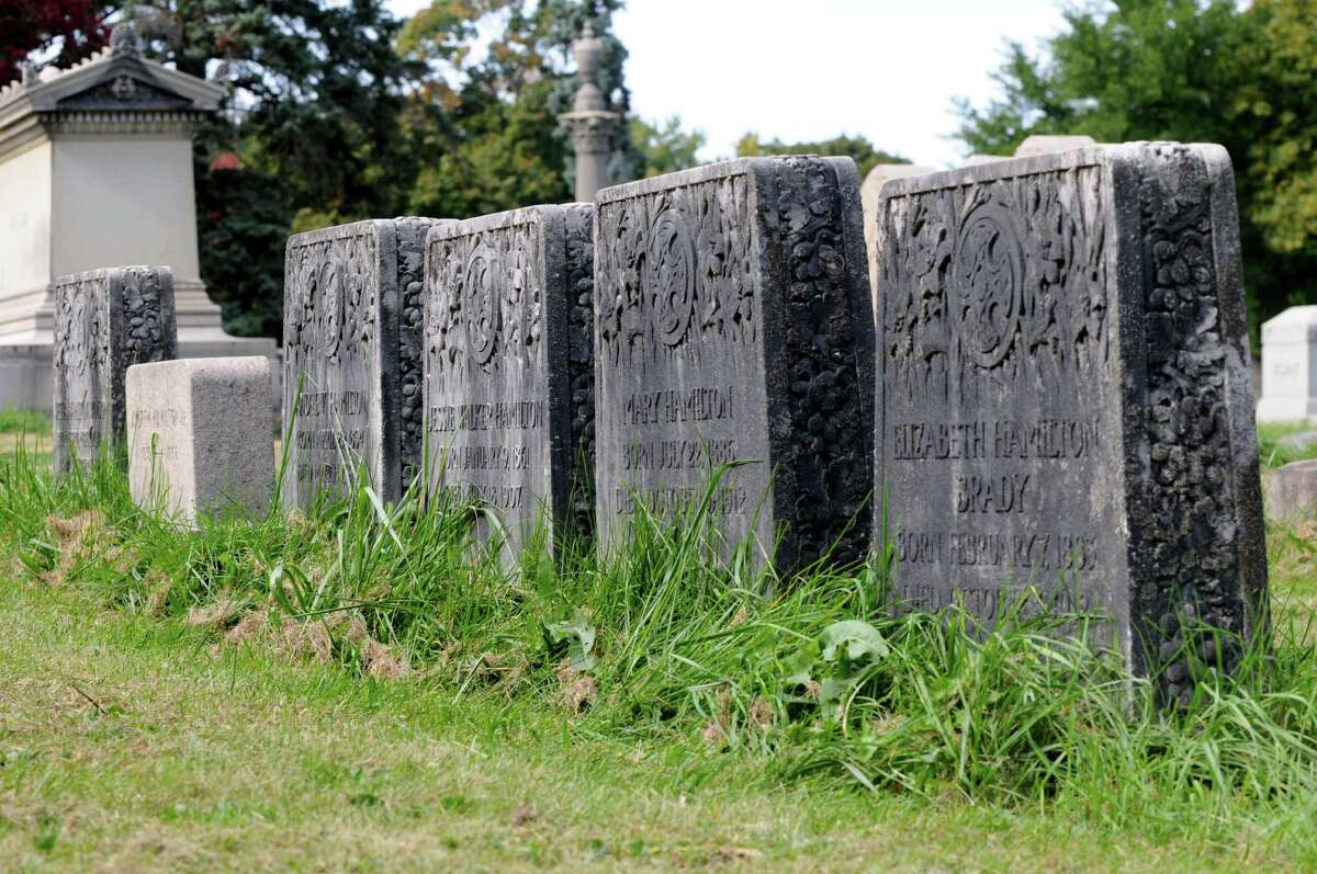 A side view of Andrew Hamilton?s children?s headstones.