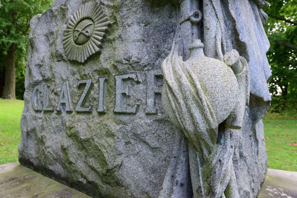 The Willard Glazier monument at Albany Rural Cemetery. (Will Waldron/Times Union)