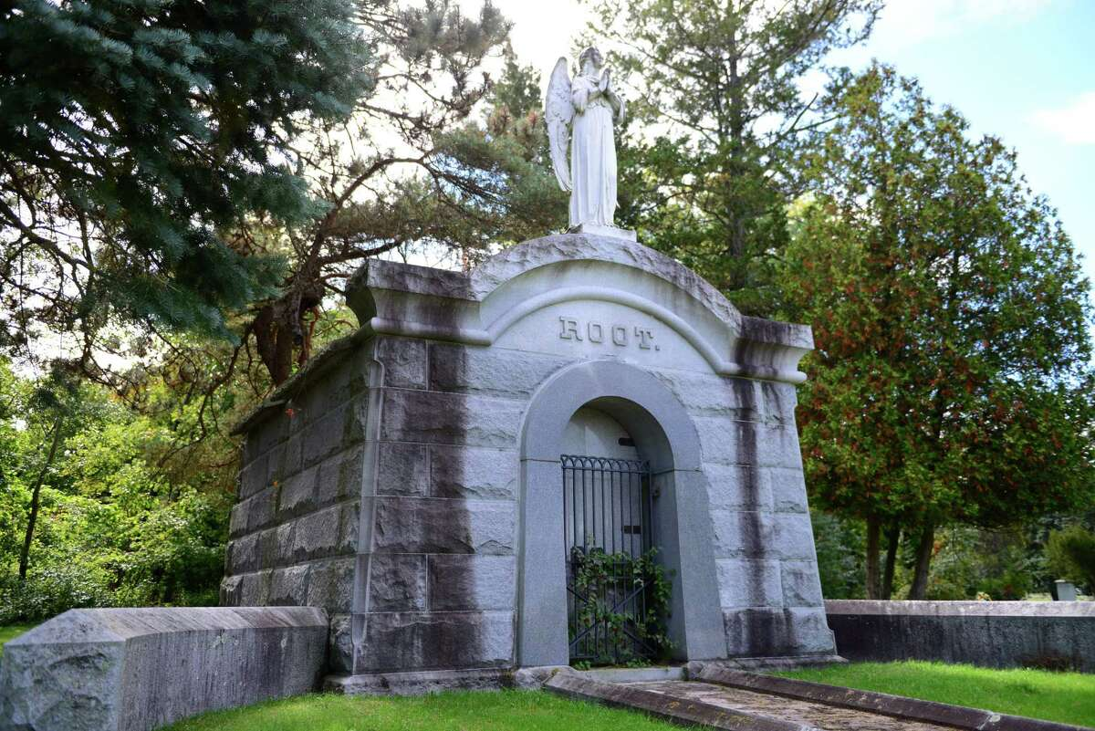 The Root family mausoleum. Josiah Goodrich Root established Tivoli Mills in Cohoes. He was also a director of the National Bank of Cohoes. (Will Waldron/Times Union)