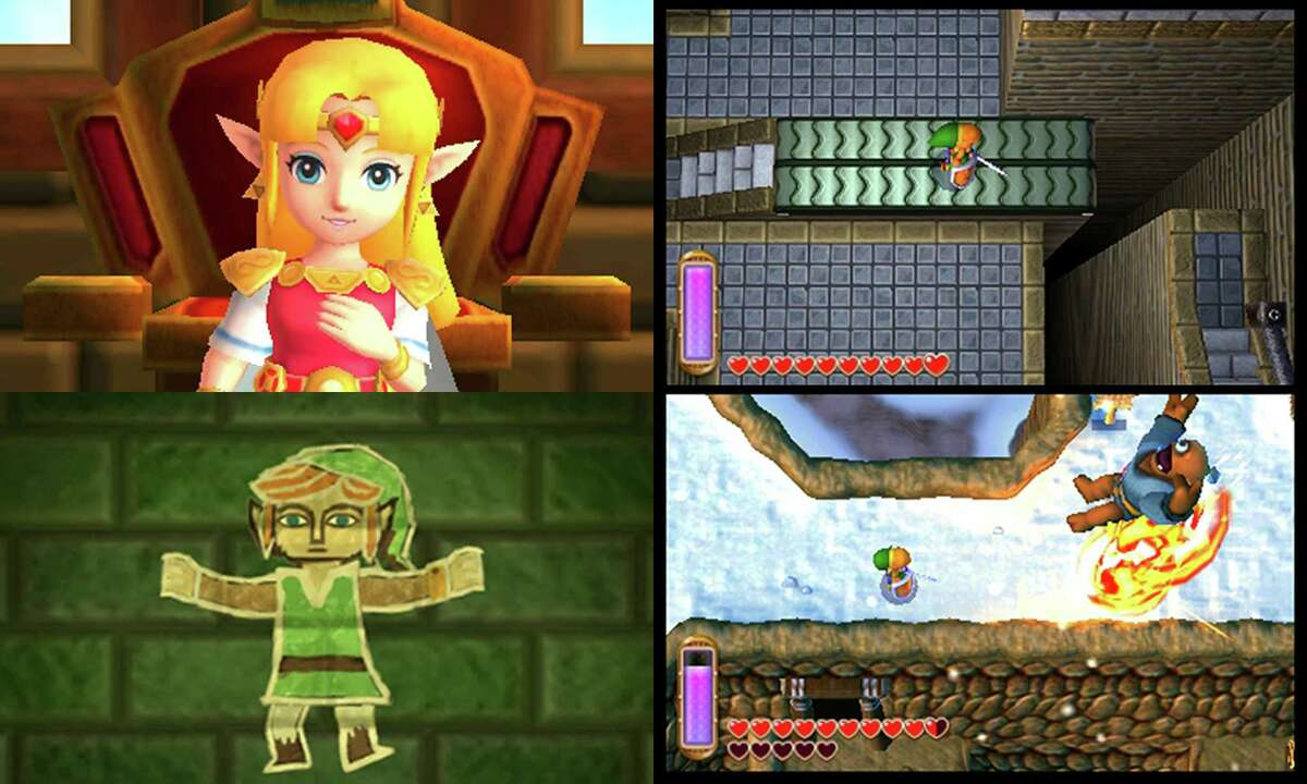 """These images provided by Nintendo shows four screenshots of the video game, """"The Legend of Zelda: A Link Between Worlds,"""" from Nintendo. (AP Photo/Nintendo) ORG XMIT: CAET472"""