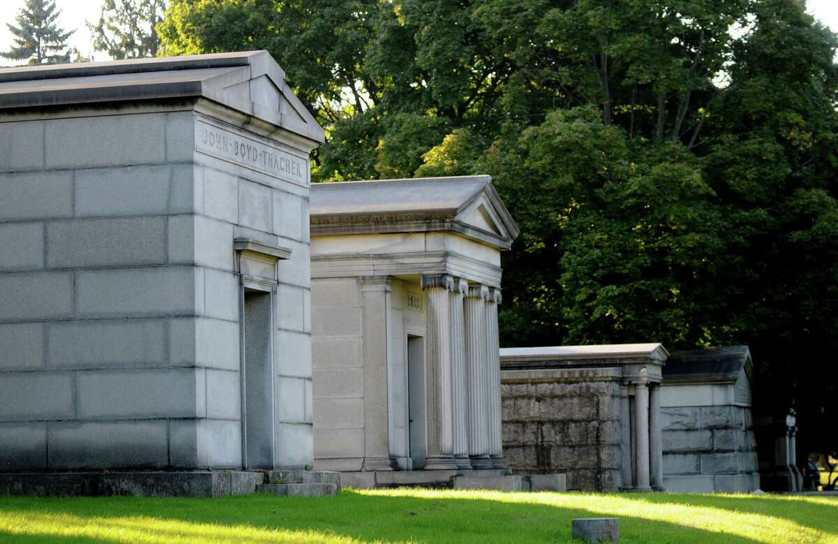 Row of mausoleums at Albany Rural Cemetery. (Will Waldron/Times Union)