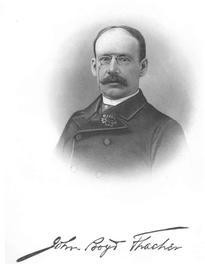 John Boyd Thacher (1847-1909): He built a fortune as the owner of Thacher Car Works, which manufactured wheels and underpinnings for railroad cars. Thacher also had an extensive political career, which included mayor of Albany during the Civil War. His widow donated 350 acres of land along the Helderberg escarpment that became John Boyd Thacher State Park. Read more about Thacher in our Albany Rural Cemetery section. Albany County N.Y. 1609-1886 / Public domain. No restrictions.