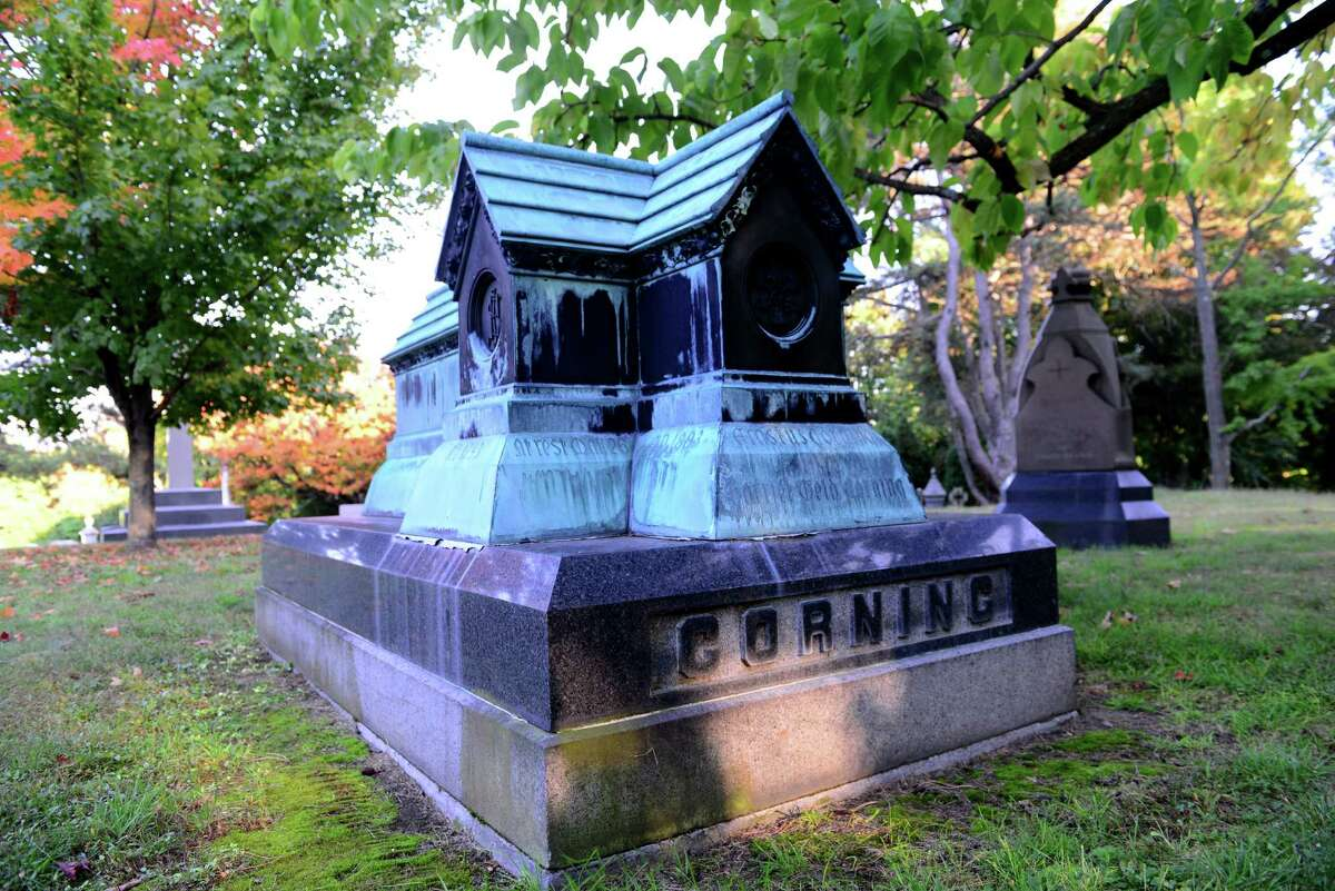 Corning family plot includes the graves of Erastus Corning, founder and president of the New York Central Railroad, and Erastus Corning 2nd, former longtime Albany mayor. (Will Waldron/Times Union)