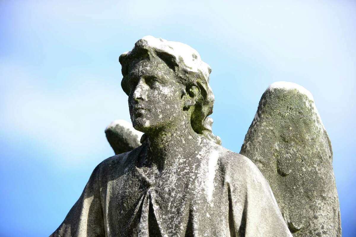 Angel at the Sepulchre, atop the grave of Emma Rathbone Turner on the south ridge at Albany Rural Cemetery is the work of Erastus Dow Palmer.