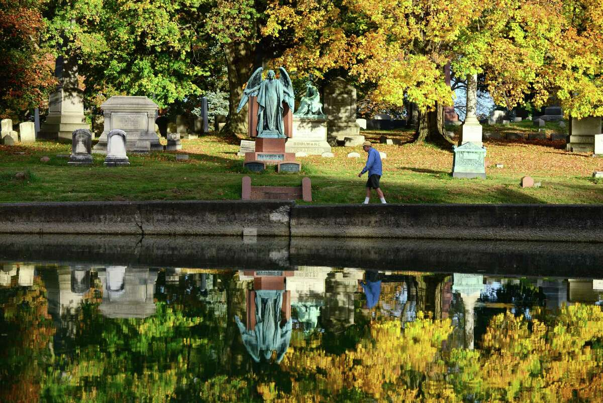 Click through for photos of Albany Rural Cemetery. This eight-foot-tall bronze angel graces the burial site of department store owner John Myers and his wife, Mary. The monument is easily viewed from the Cypress Fountain. (Will Waldron/Times Union)