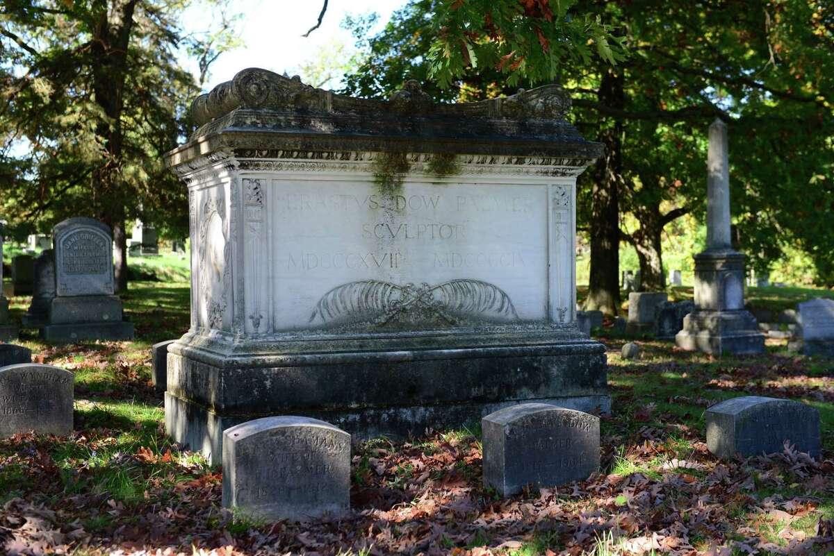 The grave of Albany sculptor Erastus Dow Palmer. Among Palmer's many works is the Angel at the Sepulchre which is located not far from his grave on the top of the South Ridge.