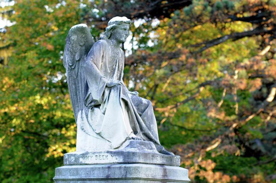 Erastus Dow Palmer (1817-1904): He was a world-renowned sculptor, with two sculptures currently in the U.S. Capitol in Washington. The photo above is of his Angel at the Sepulchre, atop the grave of Emma Rathbone Turner on the south ridge at Albany Rural Cemetery. Read more about Palmer in our Albany Rural Cemetery section. Photo: WW / 00023993A