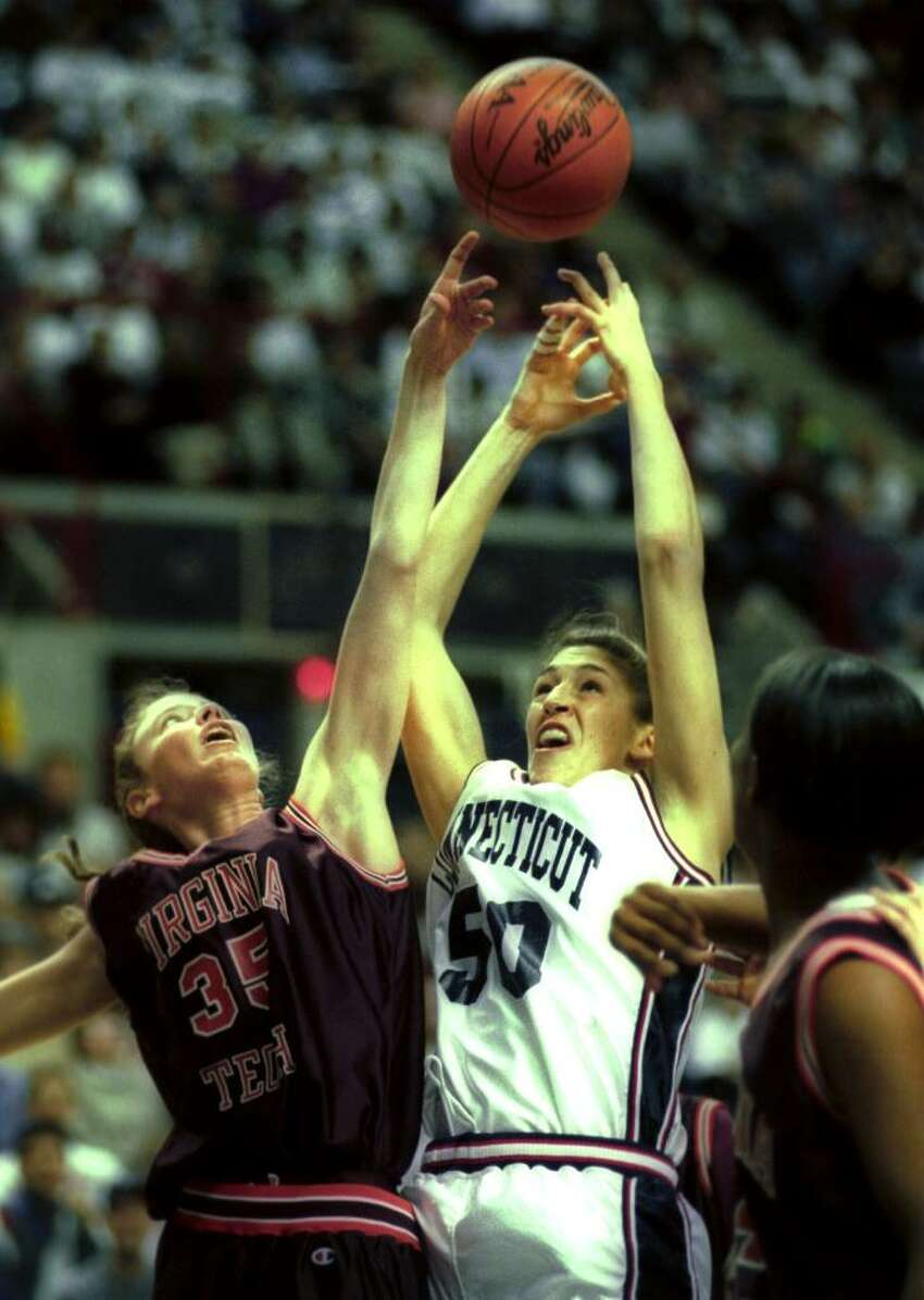 University of Connecticut basketball player Rebecca Lobo in action against Virginia Tech on March 18th, 1995.