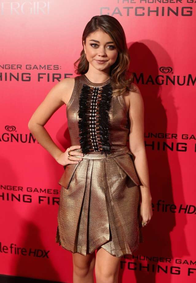 "Actress Sarah Hyland attends premiere of Lionsgate's ""The Hunger Games: Catching Fire"" - Red Carpet at Nokia Theatre L.A. Live on November 18, 2013 in Los Angeles, California. Photo: Christopher Polk, Getty Images"