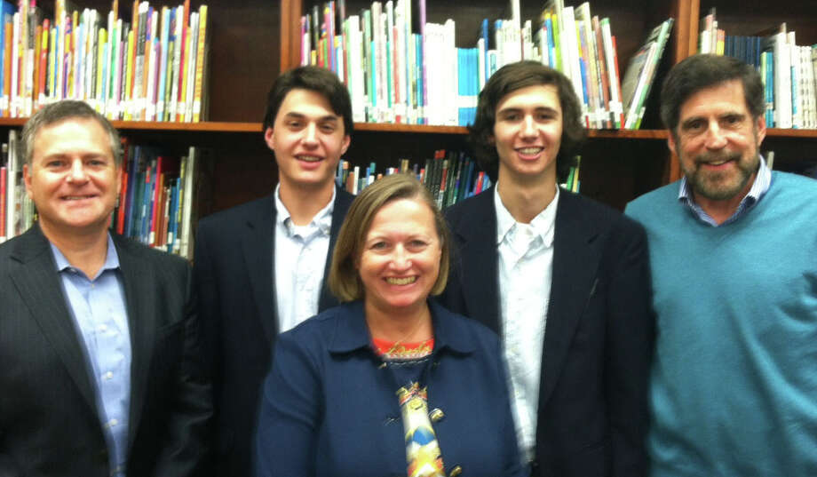 The newest board members of the High School Scholarship Foundation of Fairfield are, from left: Bart Surrick, Paul Arancio, Michelle Mittola, Will Downey, and Jerry McTigue. Not shown is April Burggraf. Arancio and Downey are seniors at Fairfield Ludlowe High School. Photo: Contributed Photo / Fairfield Citizen