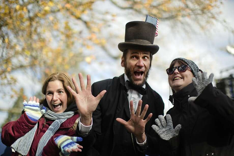 Honestly, Abe! On the 150th anniversary of the Gettysburg Address, an Abraham Lincoln-impersonator named Rick Miller mugs for the camera not from far the hallowed ground of Gettysburg, Pa. Photo: Matt Rourke, Associated Press