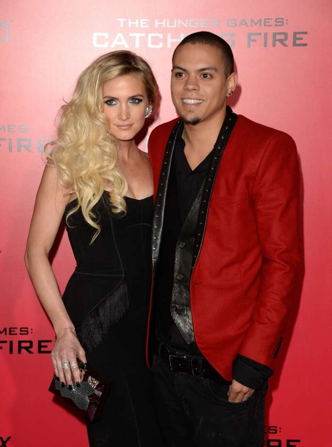 "Singer Ashlee Simpson (L) and Evan Ross arrive at the premiere of Lionsgate's ""The Hunger Games: Catching Fire"" at Nokia Theatre L.A. Live on November 18, 2013 in Los Angeles, California. Photo: Jason Merritt, Getty Images"