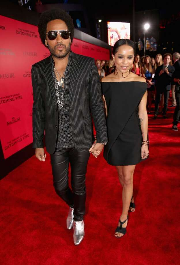 "Actor/musician Lenny Kravitz (L) and daughter Zoe Kravitz attend premiere of Lionsgate's ""The Hunger Games: Catching Fire"" - Red Carpet at Nokia Theatre L.A. Live on November 18, 2013 in Los Angeles, California. Photo: Christopher Polk, Getty Images"