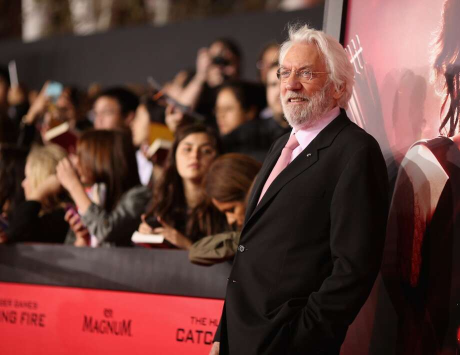 "LOS ANGELES, CA - NOVEMBER 18:  Actor Donald Sutherland attends premiere of Lionsgate's ""The Hunger Games: Catching Fire"" - Red Carpet at Nokia Theatre L.A. Live on November 18, 2013 in Los Angeles, California.  (Photo by Christopher Polk/Getty Images) Photo: Christopher Polk, Getty Images"
