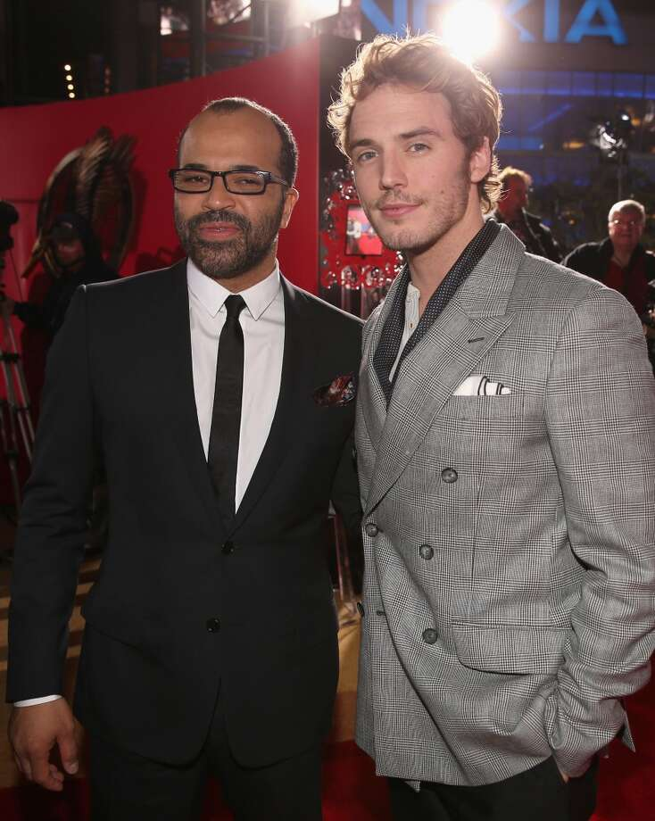 "Actors Jeffrey Wright (L) and Sam Claflin attend premiere of Lionsgate's ""The Hunger Games: Catching Fire"" - Red Carpet at Nokia Theatre L.A. Live on November 18, 2013 in Los Angeles, California. Photo: Christopher Polk, Getty Images"