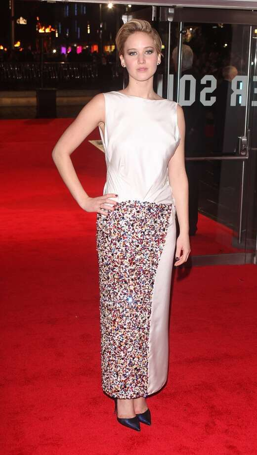 """Jennifer Lawrence started off the """"Catching Fire"""" series of premiere in Dior at the London premiere. Photo: David M. Benett, WireImage"""