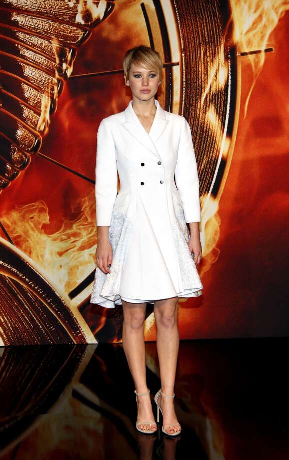 Jennifer Lawrence is suited in white in Berlin. Photo: Anita Bugge, WireImage