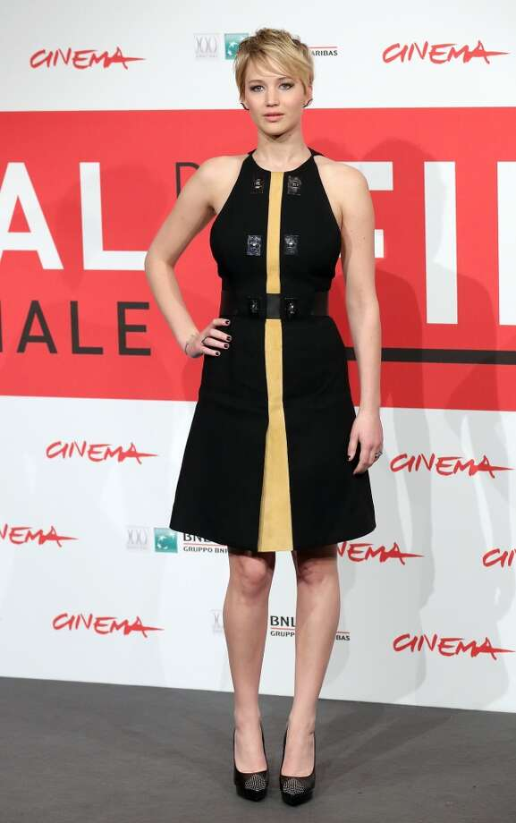 Jennifer Lawrence dons a modern, edgier version of the Rome premiere dress during a photocall. Photo: Elisabetta A. Villa, WireImage