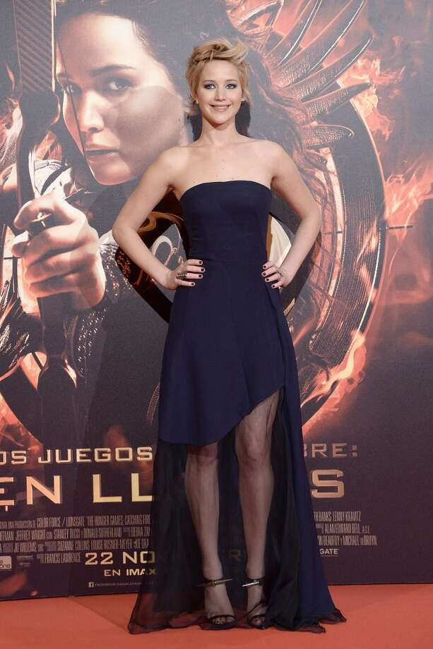 Jennifer Lawrence goes dark blue (and a little sheer) at the Madrid premiere. Photo: Fotonoticias, FilmMagic