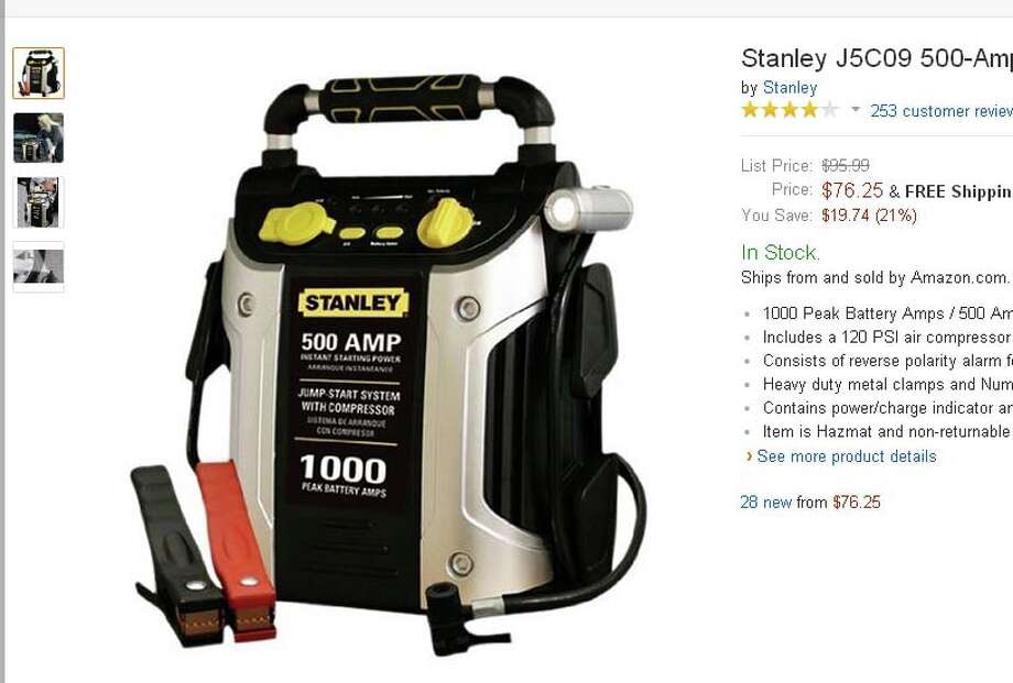 Portable Battery Jump-StartNever get stranded on the side of the road again, thanks to this nifty jump-start. $76.25 on Amazon. Photo: Stanley