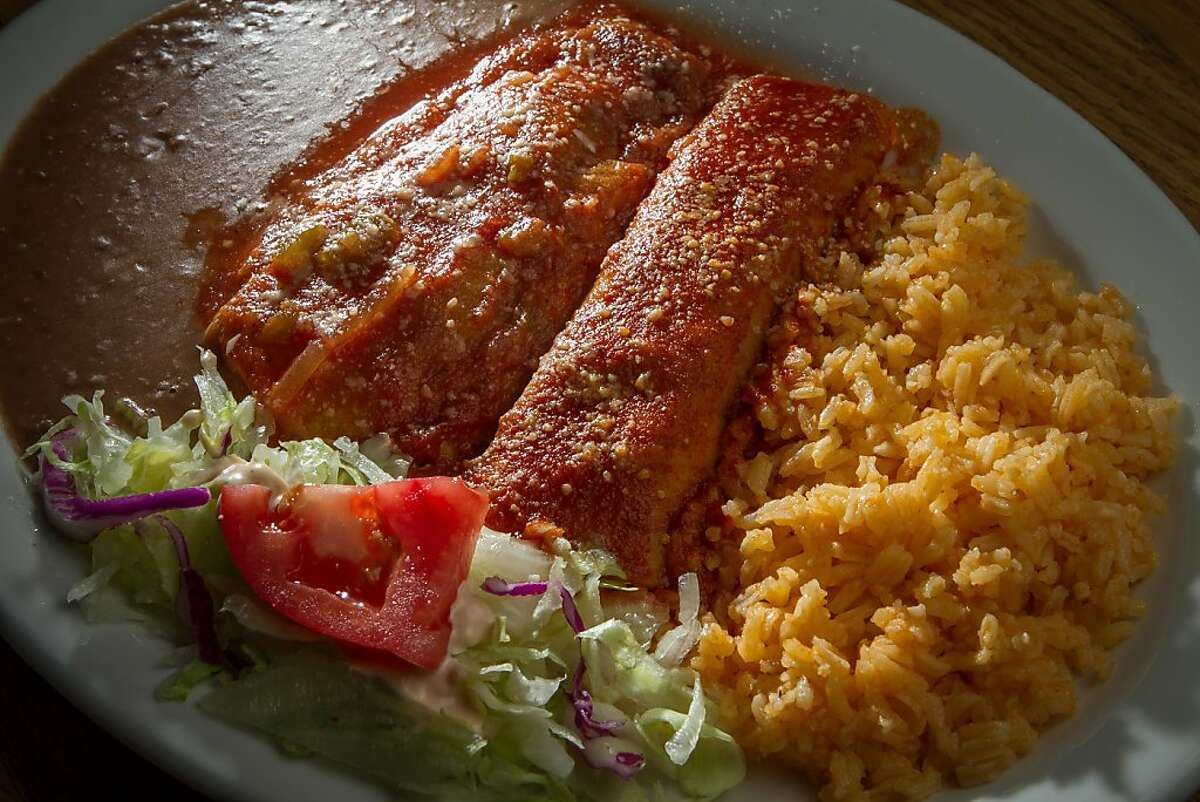 The Chile Relleno and Enchilada combo platter at Puerto Alegre in San Francisco, Calif., is seen on November 15th, 2013.