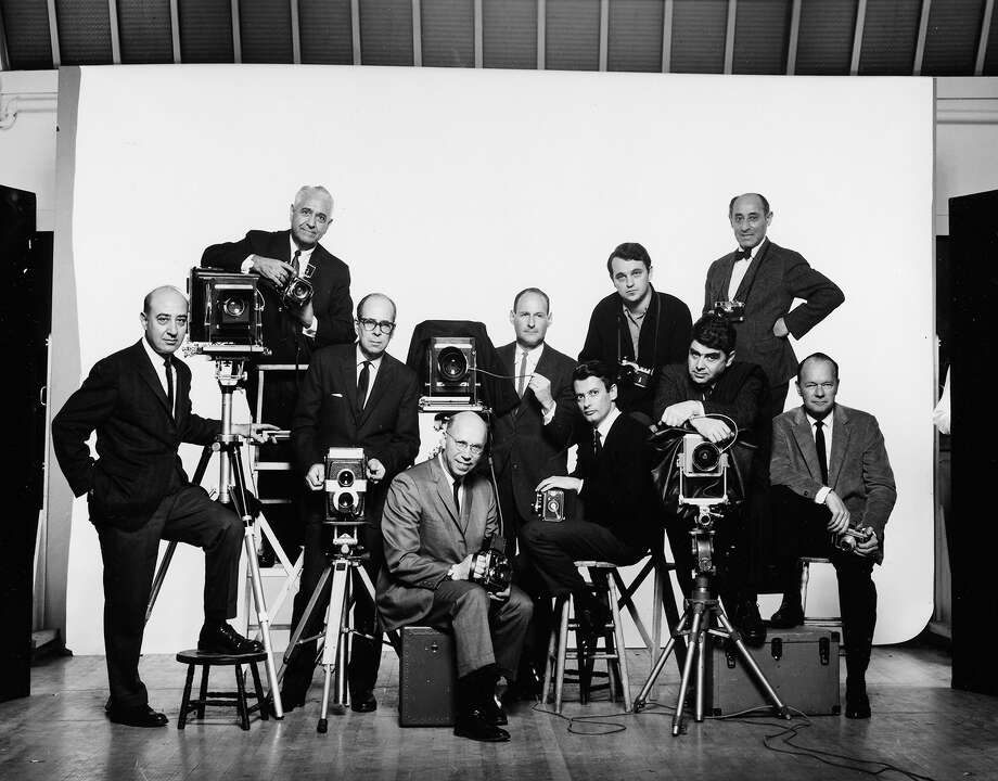 Photographers from the Famous Photographers School in Westport posed for a self portrait in 1964. They are from left: Arthur dâÄôArazien, Joseph Costa, Phillipe Halsman, Harry Garfield, Irving Penn, Richard Avedon, Bert Stern, Ezra Stroller, Alfred Eisenstaedt and Richard Beattie. Photo: Contributed Photo / Westport News