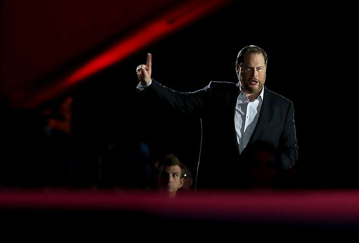 SAN FRANCISCO, CA - NOVEMBER 19: Salesforce chairman and CEO Marc Benioff speaks during a keynote address at the 2013 Dreamforce conference on November 19, 2013 in San Francisco, California. The annual Dreamforce conference runs through November 21. (Photo by Justin Sullivan/Getty Images)