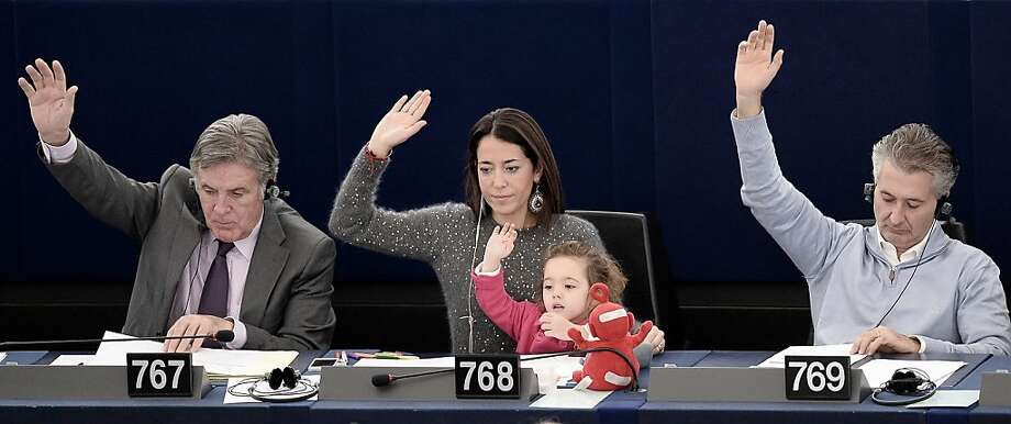 Take Your Daughter to Work Day? At the European Parliament in Strasbourg, France, Italy's Licia Ronzulli and 