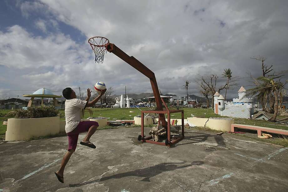 The 'bank' is closed:The basketball hoop at Old Children's Park in Tacloban, Leyte, survived Typhoon Haiyan, 