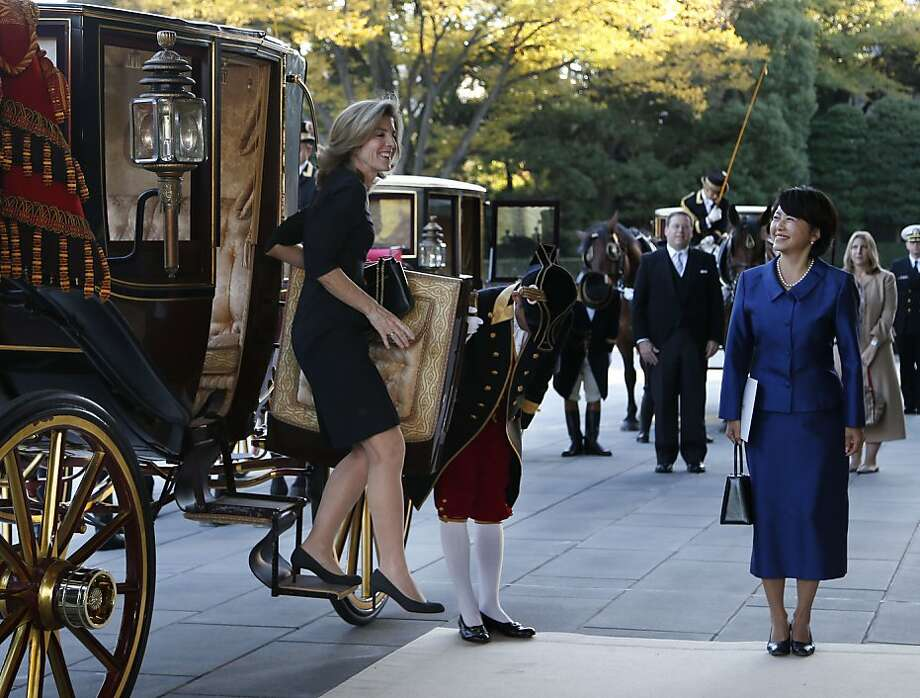 A Kennedy in the Land of the Rising Sun: Caroline Kennedy, the new U.S. ambassador to Japan, exits her carriage at the Imperial Palace in Tokyo. Kennedy presented credentials to Emperor Akihito in a formal court ceremony at the palace. Photo: Koji Sasahara, Associated Press