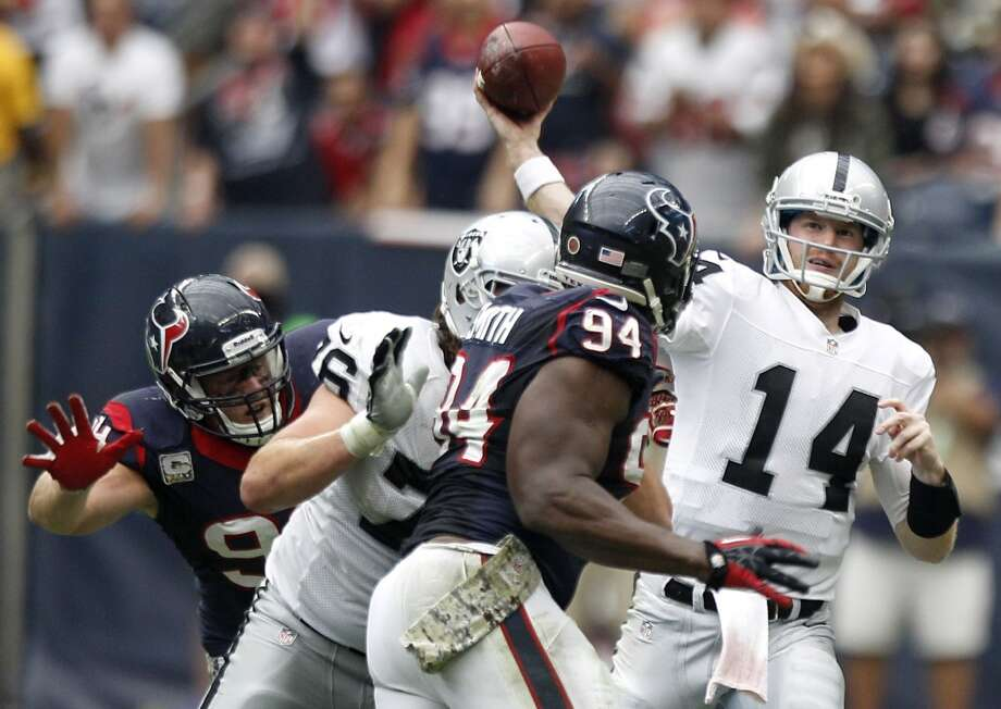 In his first career start, Matt McGloin passed for 198 yards and three touchdowns to lead the Raiders to a 28-23 win over the Texans. McGloin was not the first rookie quarterback to have success against the Texans. See how other first-year signal-callers fared against the team over the years. Photo: Brett Coomer, Houston Chronicle