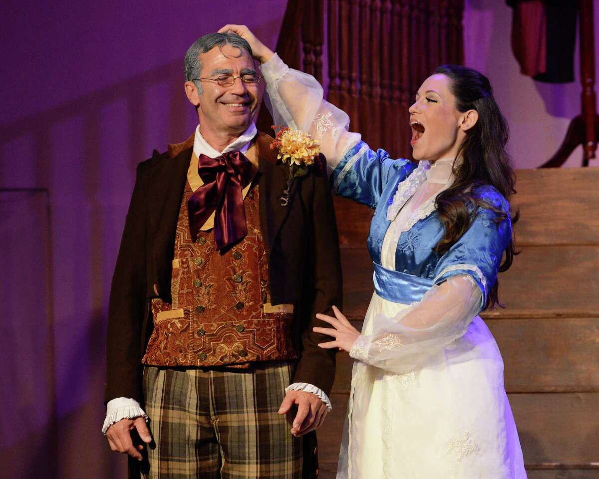"""Stefano de Peppo, left, plays Don Pasquale and Julia Engel is Norina in Opera in the Heights' production of Gaetano Donizetti's """"Don Pasquale."""""""